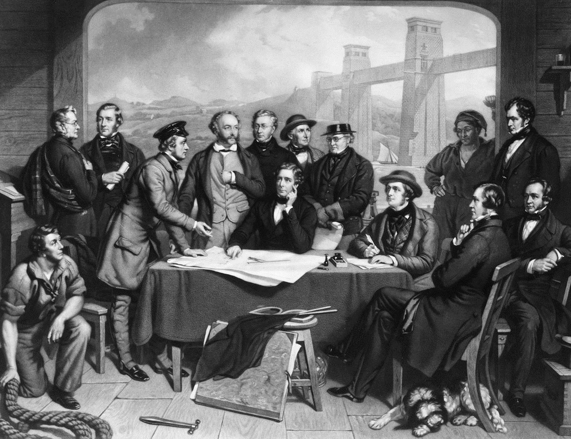 Conference of Engineers at the Menai Straits Preparatory to Floating one of the Tubes of the Britannia Bridge by John Lucas.